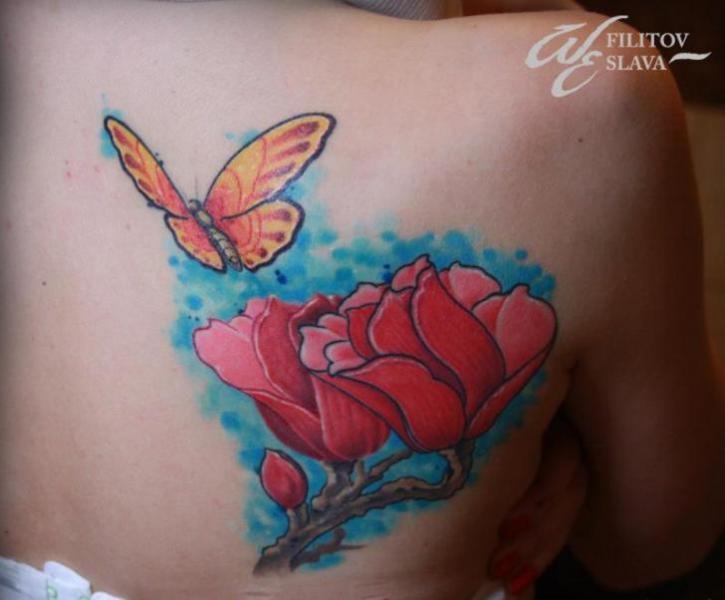Blumen Rücken Schmetterling Tattoo von West End Studio