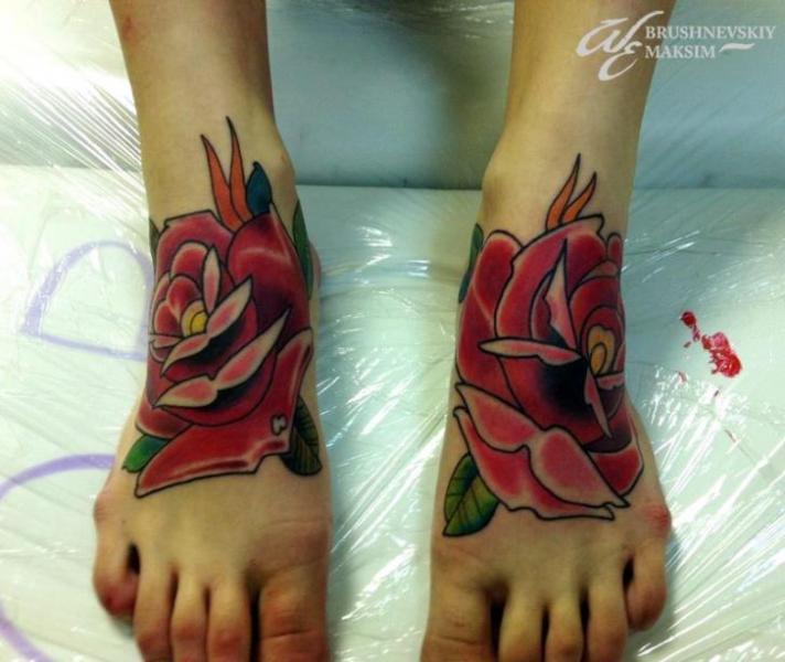 Old School Foot Flower Tattoo by West End Studio