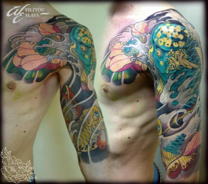 Shoulder Arm Japanese Carp Tattoo by West End Studio