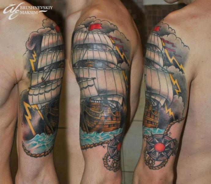 Shoulder Galleon Compass Tattoo by West End Studio
