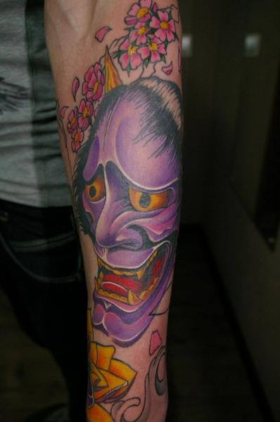Arm Japanese Demon Tattoo by Baraka Tattoo