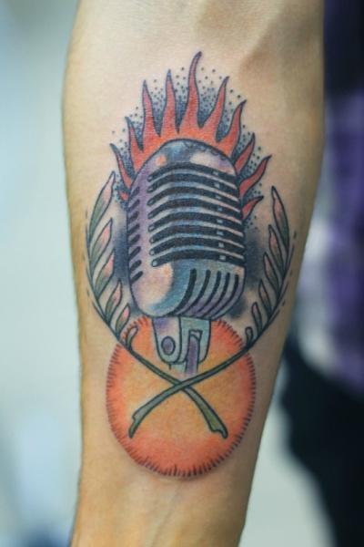 Arm Old School Microphone Tattoo by Baraka Tattoo