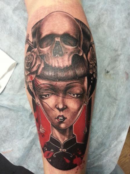 Tatuaggio Braccio Teschio Donne di Baraka Tattoo
