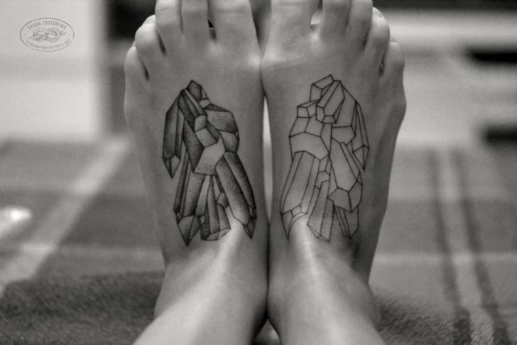 Fantasy Foot Dotwork Tattoo by Baraka Tattoo