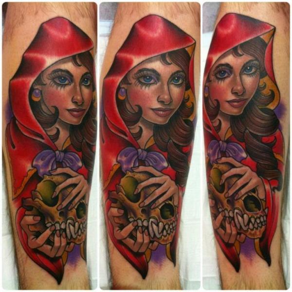 Arm New School Skull Women Tattoo by Third Eye Tattoo