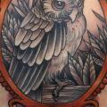 New School Back Owl Medallion tattoo by Third Eye Tattoo