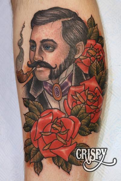 New School Calf Flower Men Tattoo by Third Eye Tattoo