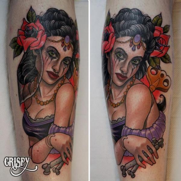 New School Leg Gypsy Tattoo by Third Eye Tattoo