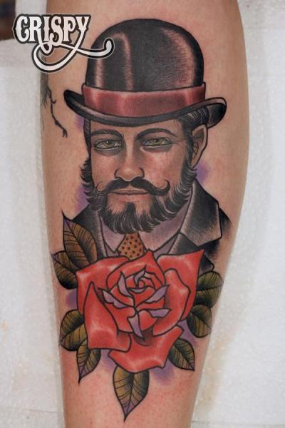 New School Leg Men Hat Tattoo by Third Eye Tattoo