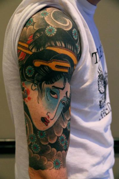 Shoulder Japanese Geisha Tattoo by Third Eye Tattoo