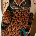 Shoulder New School Owl tattoo by Third Eye Tattoo