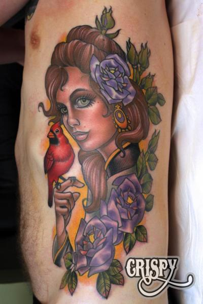 Tatuaggio New School Fianco Donne Uccello di Third Eye Tattoo