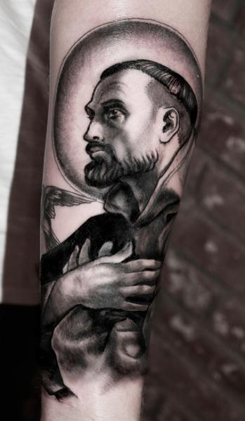 Arm Dotwork Saint Tattoo by Saved Tattoo