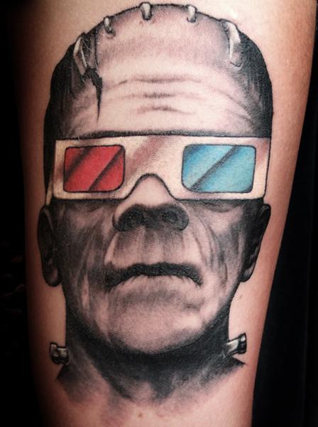 Arm Fantasy Frankenstein Glasses Tattoo by Saved Tattoo