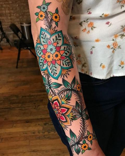 Arm Flower Tattoo by Saved Tattoo