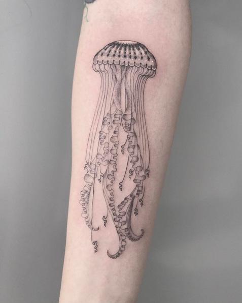 Arm Jellyfish Tattoo by Saved Tattoo