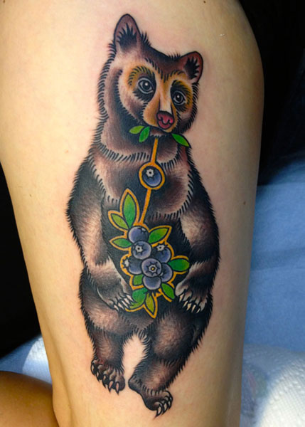 Arm New School Bear Tattoo by Saved Tattoo