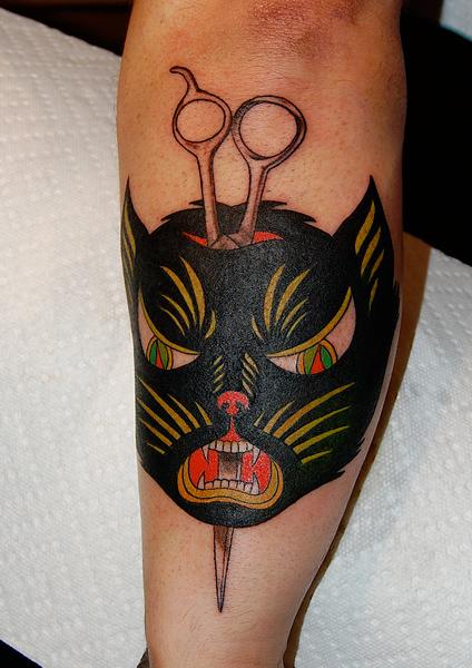 Arm Old School Scissor Cat Tattoo by Saved Tattoo