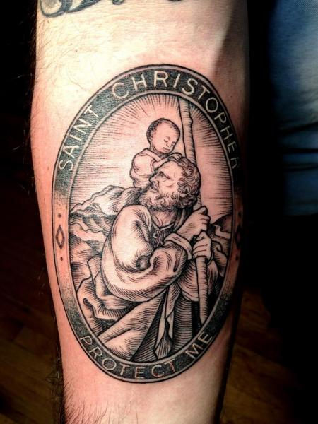 Arm Religious Saint Tattoo by Saved Tattoo