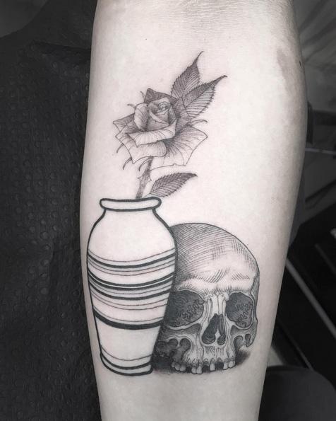 Arm Flower Skull Tattoo by Saved Tattoo