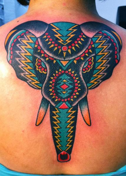 Back Elephant Tattoo by Saved Tattoo