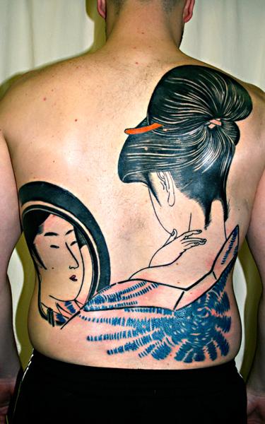 Tatuaje Japoneses Espalda Espejo Geisha por Saved Tattoo