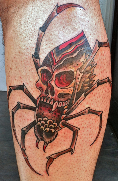 Snake Calf Old School Spider Tattoo by Saved Tattoo