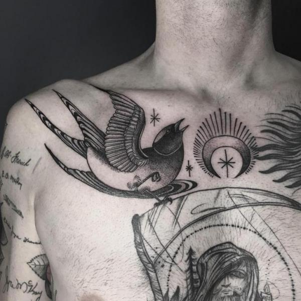 Chest Bird Tattoo by Saved Tattoo