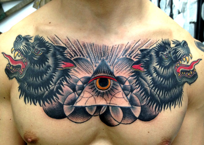 Chest Old School Wolf God Tattoo by Saved Tattoo