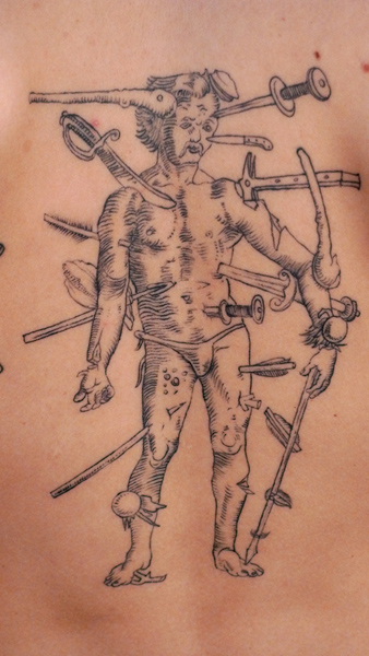 Dagger Dotwork Men Tattoo by Saved Tattoo