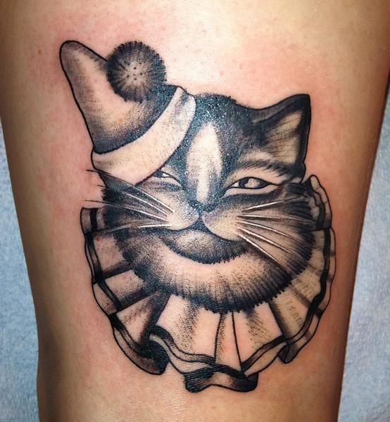 Fantasy Cat Hat Tattoo by Saved Tattoo