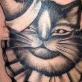 tatuaje Fantasy Gato sombrero por Saved Tattoo