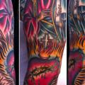 tatuaje Brazo New School Religioso por Saved Tattoo