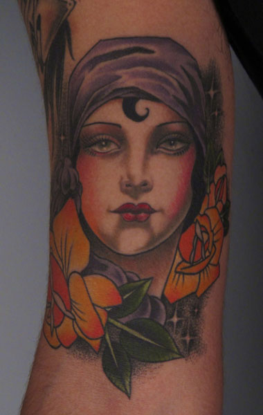 New School Flower Women Tattoo by Saved Tattoo