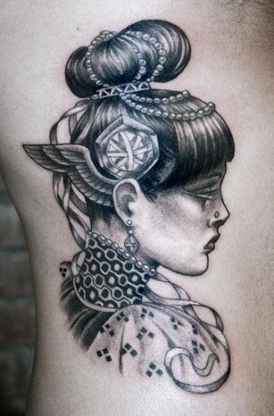 Side Women Dotwork Tattoo by Saved Tattoo