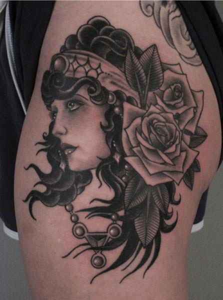 Old School Flower Gypsy Thigh Tattoo by Saved Tattoo