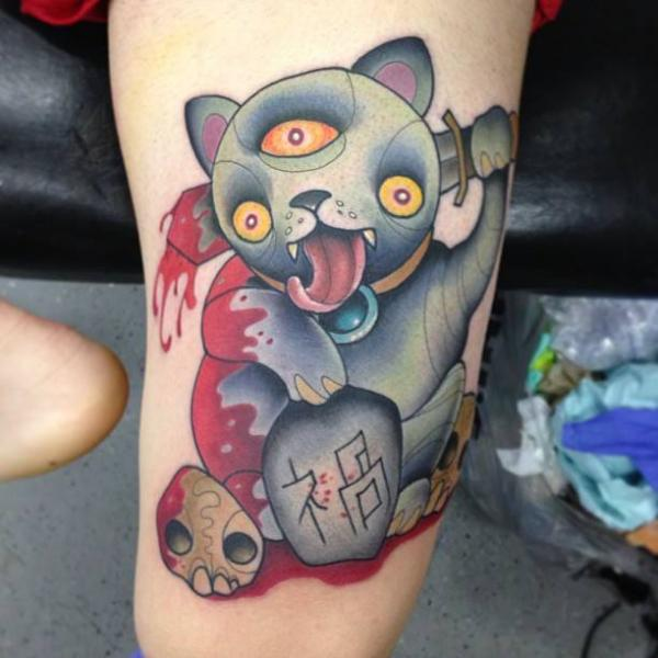 Arm Fantasy Cat Blood Tattoo by S13 Tattoo
