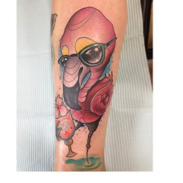Arm Fantasy Flamingo Tattoo by S13 Tattoo