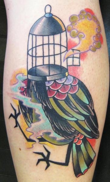 Arm New School Bird Cage Tattoo By S13 Tattoo