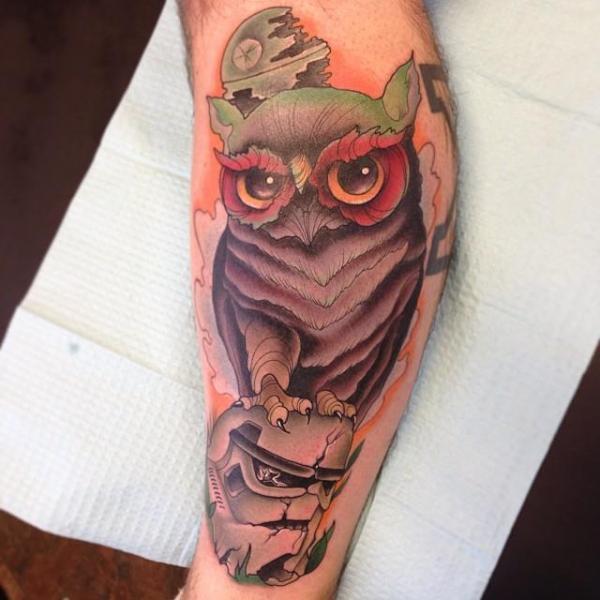 Arm Owl Tattoo by S13 Tattoo