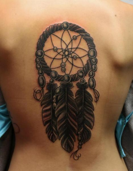 Back Dreamcatcher Tattoo by S13 Tattoo