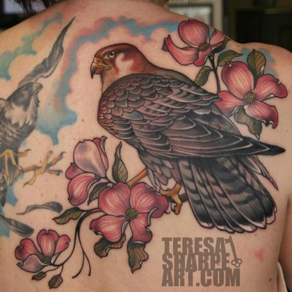 Flower Back Eagle Tattoo by S13 Tattoo