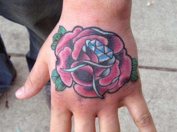 New School Flower Hand Diamond Tattoo by S13 Tattoo