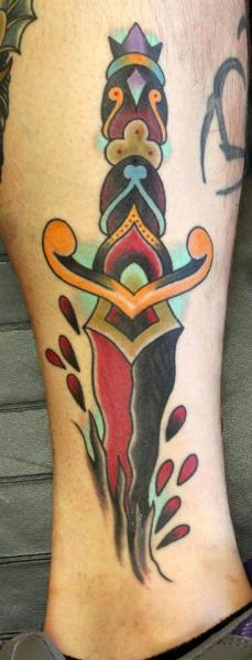 Old School Leg Dagger Tattoo by S13 Tattoo