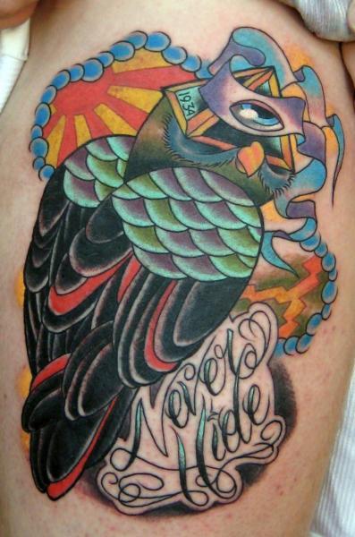 New School Owl Tattoo By S13 Tattoo