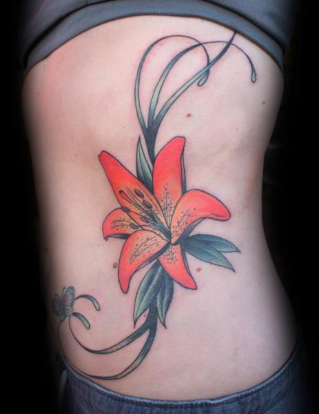 Realistic Flower Side Tattoo by S13 Tattoo