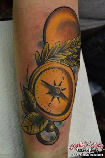 Arm Realistic Compass Tattoo by Rock n Roll Tattoo