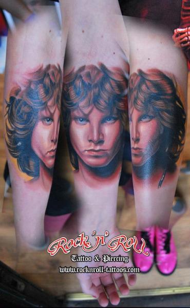 Arm Portrait Realistic Jim Morrison Tattoo by Rock n Roll Tattoo