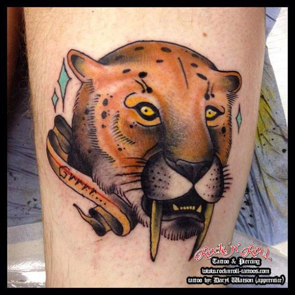 Old School Tiger Tattoo by Rock n Roll Tattoo