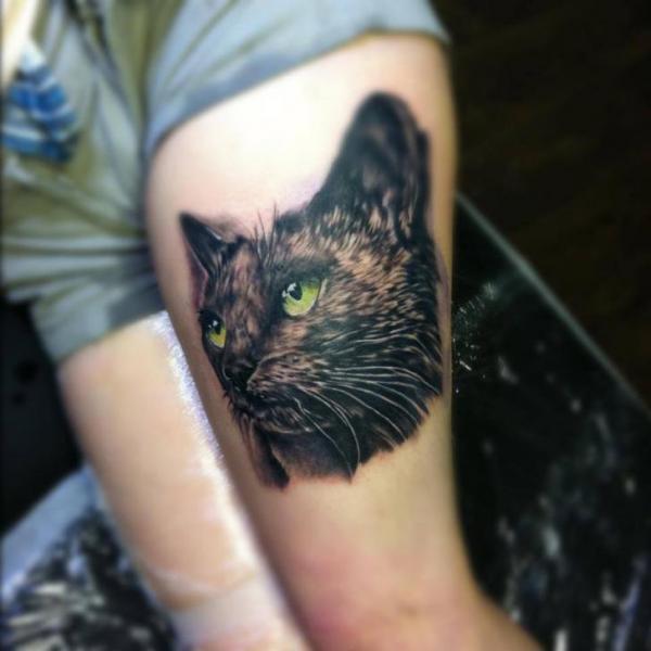 Tatuaggio Realistici Gatto Coscia di Rock n Roll Tattoo